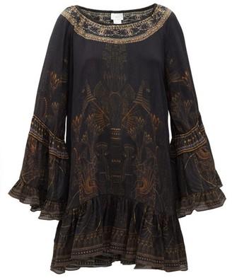 Camilla Cobra-print Silk-crepe Mini Dress - Womens - Black Print