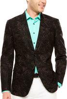 Jf J.Ferrar JF Black Palm Linen Cotton Sport Coat-Slim