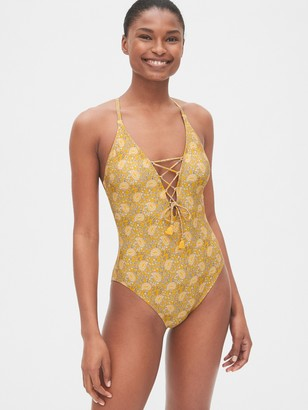 Gap Lace-Up Print Crossback One-Piece Suit