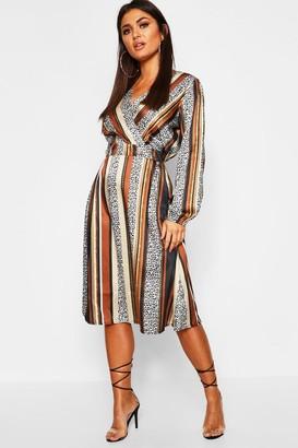 boohoo Leopard Stripe Button Front Midi Dress
