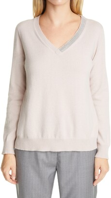 Fabiana Filippi Embellished V-Neck Wool, Silk & Cashmere Sweater