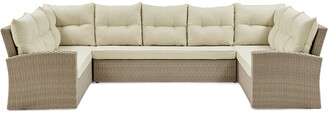 Alaterre Canaan All-Weather Wicker Outdoor Horseshoe Sectional Sofa With Cushions