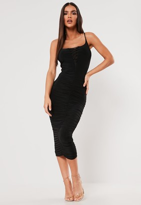 Missguided Sxf X Black Slinky Ruched Lace Up Midi Dress