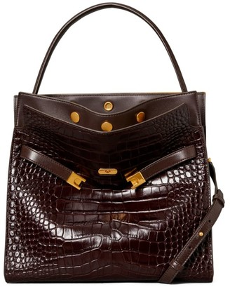 Tory Burch Lee Radziwill Croc-Embossed Leather Satchel