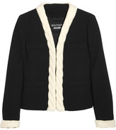 Moschino Cable Knit-trimmed Wool-crepe Jacket - Black
