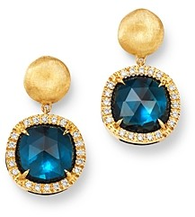 Marco Bicego 18K Yellow Gold Jaipur Color London Blue Topaz & Diamond Small Drop Earrings