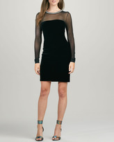 Velvet by Graham & Spencer Embellished Velvet Mesh-Panel Dress