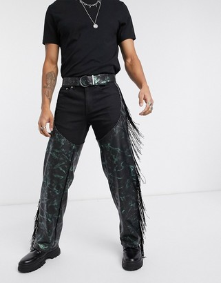 Asos DESIGN chaps in faux leather and fringing