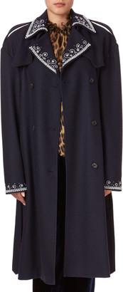 Magda Butrym Amur Beaded Large-Shoulder Trench Coat