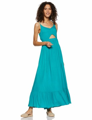 Oasis Wild Beachwear Women's V Neck Spaghetti Strap Cut Out Solid Maxi Dress (X-Large