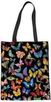 Coloranimal Folding Butterfly Print Linen Tote Shoulder Bag Plastic Bags