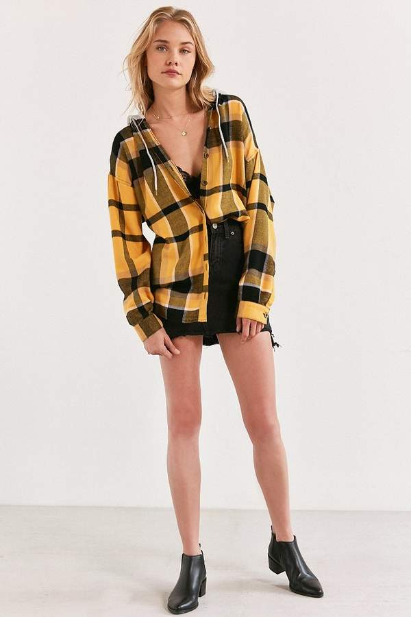 BDG Darcy Plaid Flannel Hooded Button-Down Shirt