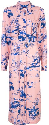 Sies Marjan Floral Belted Midi Shirt Dress