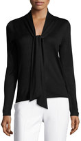 Neiman Marcus Long-Sleeve Tie-Neck Sweater, Black