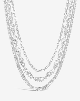 Express Sterling Forever Three Layer Bold Chain Necklace