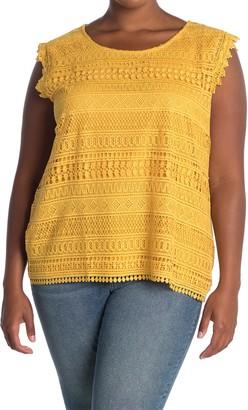 Forgotten Grace Crochet Front Cap Sleeve Blouse (Plus Size)