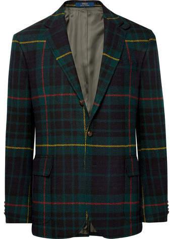 Polo Ralph Lauren Morgan Slim-Fit Nubuck-Trimmed Checked Wool And Alpaca-Blend Blazer