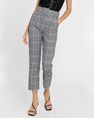 Express English Factory High Waisted Plaid Belted Trouser Pant