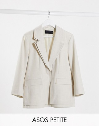 ASOS DESIGN Petite double layered jacket in natural