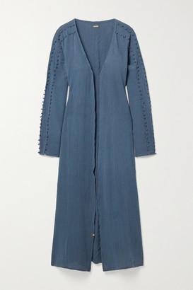 CARAVANA Kan Fringed Cotton-gauze Robe - Storm blue