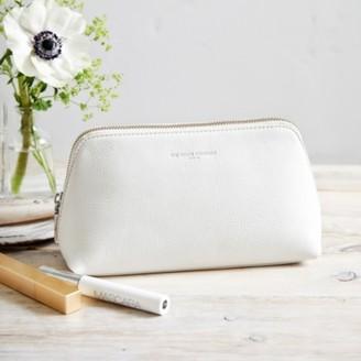 The White Company Pebblegrain Leather Make-Up Bag, White, One Size