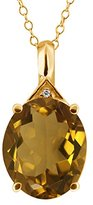 Gem Stone King 4.31 Ct Oval Whiskey Quartz and Topaz Gold Plated Sterling Silver Pendant