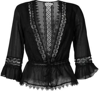 Charo Ruiz Ibiza embroidered waist-tied blouse