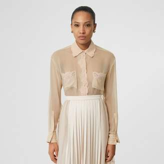 Burberry Lace Detail Silk Chiffon Oversized Shirt