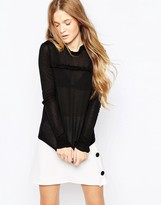 Vero Moda Long Sleeve Top With Ruffle Neck