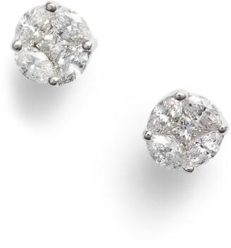 Bony Levy Gatsby Mixed Diamond Round Stud Earrings