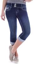 Amethyst Jeans Blue Denim Rhinestone Embellished-Pocket Regina Capri Jeans - Plus