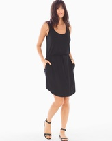 Soma Intimates Soft Jersey Drawstring Sleeveless Tank Dress Black