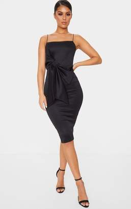 PrettyLittleThing Black Bow Detail Strappy Scuba Midi Dress