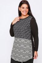 Yours Clothing Black & White Geo Print Woven Front Top