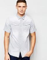 G Star G-Star Regular Fit Denim Shirt Arc 3D Short Sleeve Gray Light Aged