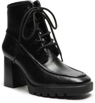 Schutz Mayah Leather Lace-Up Ankle Booties