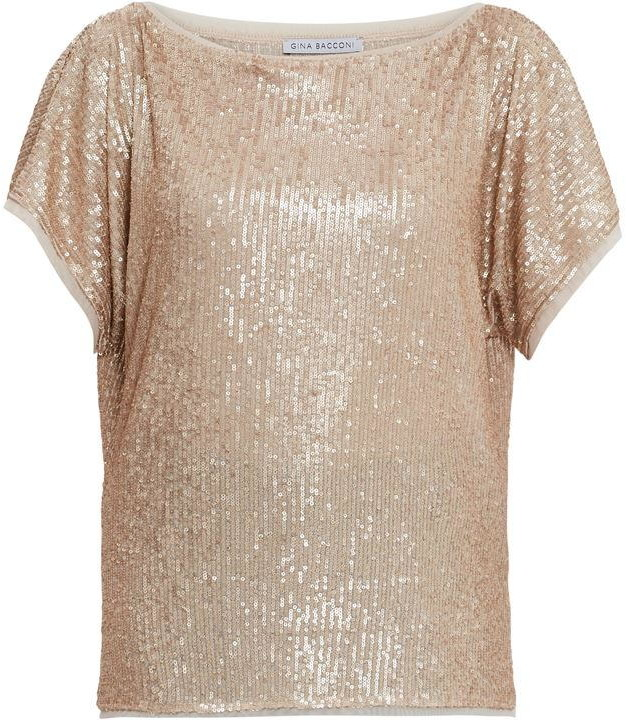 Thumbnail for your product : Gina Bacconi Lupe Stretch Sequin Top