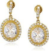Freida Rothman MADISON 14k -Plated Sterling Silver and Cubic Zirconia Opera Drop Earrings