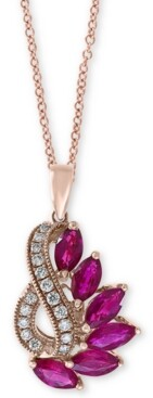 """Effy Ruby (2 ct. t.w.) & Diamond (1/5 ct. t.w.) 18"""" Pendant Necklace in 14k Rose Gold"""
