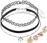 Mudd Aries, Elephant & Leaf Interchangeable Charm Choker Necklace Set