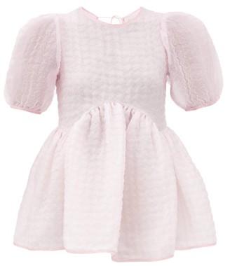 Cecilie Bahnsen Kastanje Puff-sleeved Seersucker Blouse - Pink