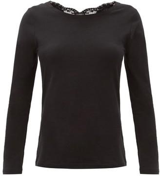 La Perla Lace-trimmed Cotton-blend Jersey Pyjama Top - Black