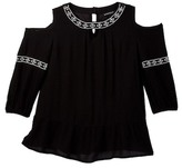 My Michelle mymichelle Embroidered Cold Shoulder Top (Big Girls)