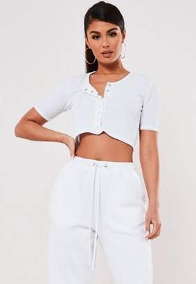 Missguided White Rib Short Sleeve Popper Detail Crop Top