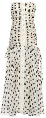 Zimmermann Strapless Polka-dot Linen And Silk-blend Maxi Dress
