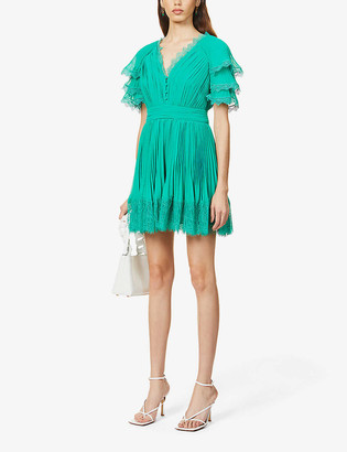 Self-Portrait Lace-trim chiffon mini dress