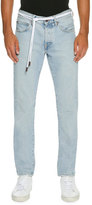 Off-White Spray-Paint Diagonal-Stripe Straight-Leg Jeans, Light Blue