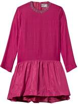 Il Gufo Pink Velvet Ceremony Dress with Jewelled Neckline