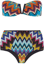 Missoni Mare Metallic Crochet-knit Bandeau Bikini - Blue