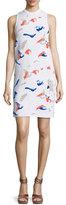 Derek Lam Ryman Geometric-Intarsia Sleeveless Dress, White